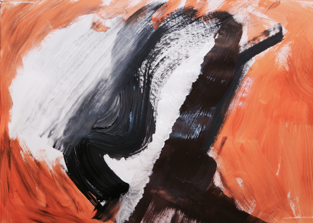 abstract painting in orange, black, white and brown
