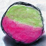 kreisförmige Zeichnung mit schwarzer Umrandung und farbiger Füllung in grün und magenta